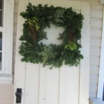 "14"" square wreath on door"